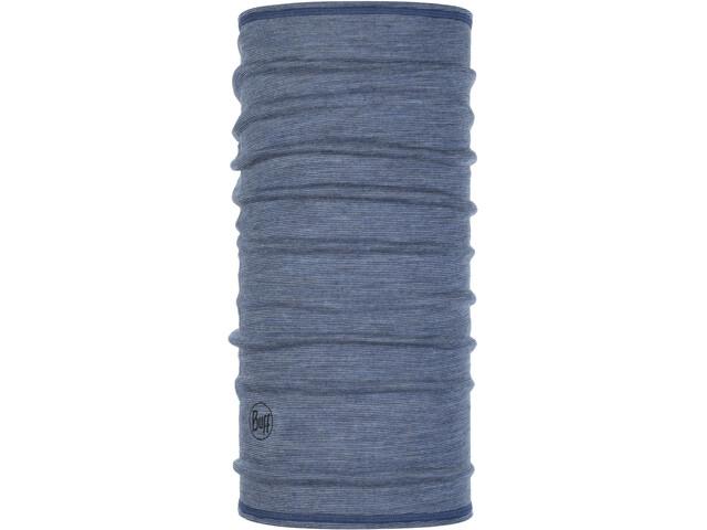 Buff Lightweight 3/4 Merino Wool Neckwarmer light denim multi stripes